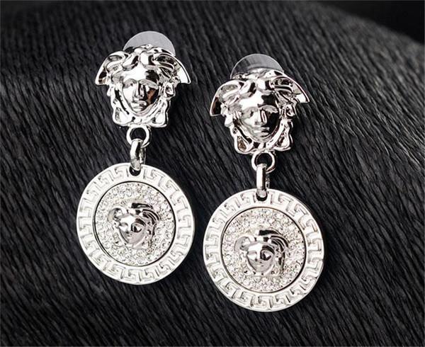 Marcas Pendientes Colgantes Clásicos Mujeres Diseño de Moda Pendiente Diosa Cabeza Cuelga los Pendientes Joyería Fina para Mujer Pendiente de Diamante Fino