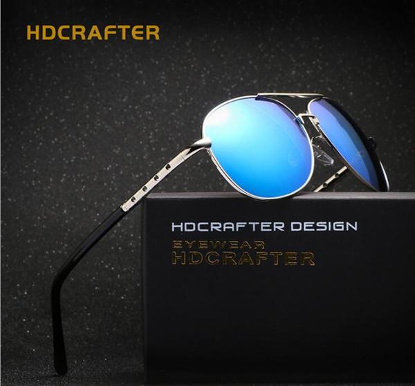 HDCRAFTER Neueste Design Polarisierte Farbfilm Herren Sonnenbrillen Legierung Rahmen im Freien Blendschutz Pilot Fahren Angeln UV400 beschichtete Sonnenbrille