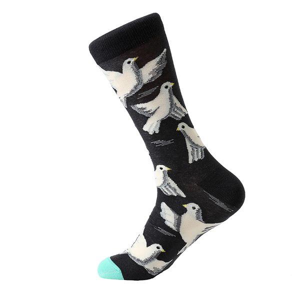 5 Pair /Lot Men 'S Cartoon Socks Cotton Animal Bird Flower Colorful Long Socks Funny Sock For Men Casual Dress Wedding Gift
