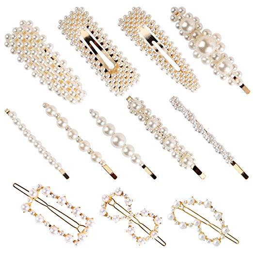 12 Pack Pearl Hair Pins Elegant Hair Barrettes Decorative Bridal Hairpins Girl Women Lady Hair Accessories for Wedding Party Daily Wearing