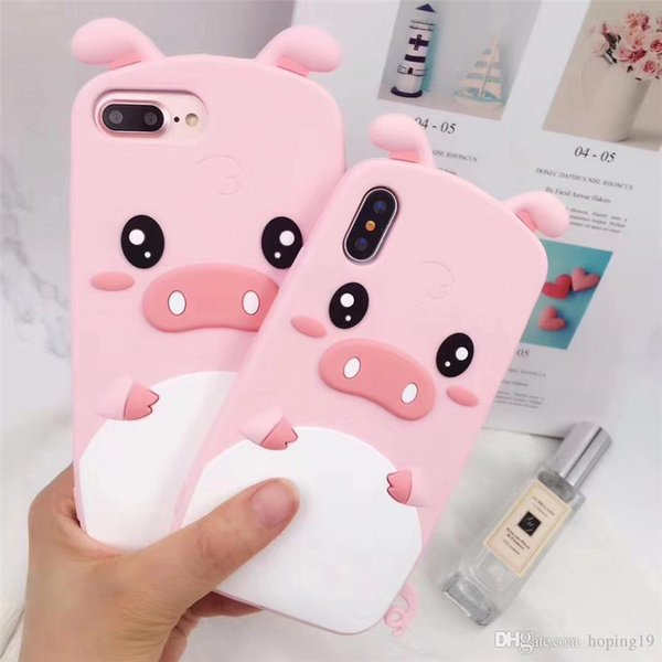 Cute Cartoon 3D Lovely Pig Piglet Phone Case for iPhone 6 6s 7 8 Plus X XR XS Max Soft Silicone Rubber Cover Fundas Coque