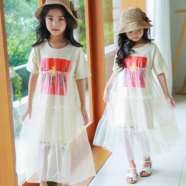 2019 summer new princess dress children's clothing mesh skirt Korean version of the big children's long dress girls 1188