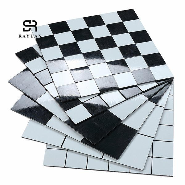 RAYUAN Black & White Metal 3D Wall Panel Sticker Kitchen Heat Resistance  Board Wall Tile Mural Wallpaper Decoration Wall To Wall Stickers Wall ...