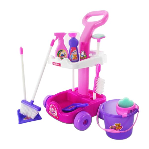 top popular 1 Set Children's Cleaning Cart 12pcs Playset Pretend Role Play Toy Gift 2021