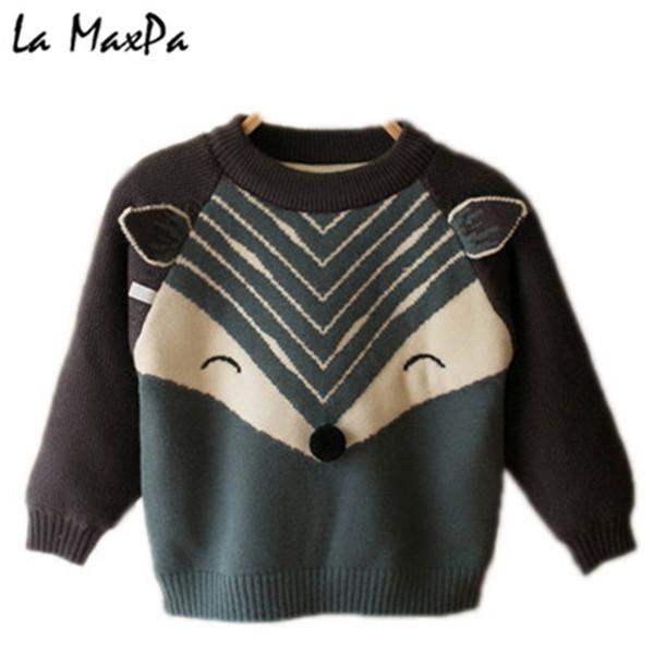 Brands Baby Girls Sweaters Winter 2019 Girl Long Sleeve Knitted Clothes Kids Autumn Cartoon Sweater For Girls Boys Velvet Coat