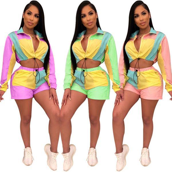 Women Crop Long Sleeve Top Shorts Tracksuit Color Match Patchwork Sun Protective Outfit Zipper Crop Jacket Sportswear Shorts Suit 2019 C435