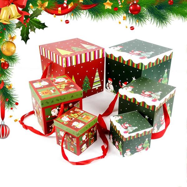 Schöne 1 Stücke Platz Pralinenschachtel Halten Weihnachtsfeier Papier Geschenkboxen Verpackung Tasche Geburtstag Decor Weihnachtsdekor DIY Präsentieren Fall