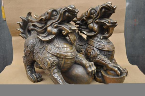NEW China Feng shui Zodiac Kylin Foo Dog Pixiu Lion Bronze Statue One Pair
