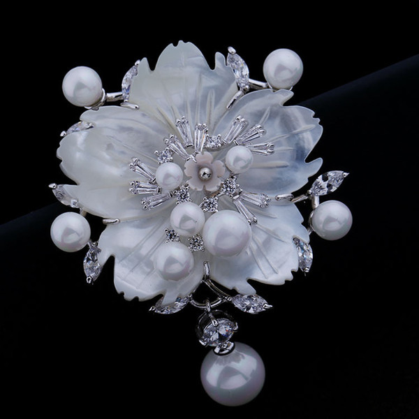 New 3A cubic zircon crystal stone pink shell pearl flower brooches simulated-pearl pins for women party