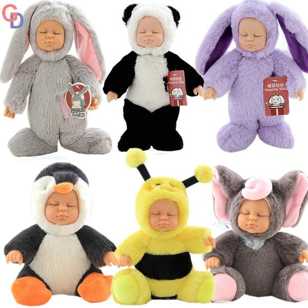 Baby Bebe Reborn Sleeping Girl Dolls toys for Children Long Plush Rabbit and Bear Dressing Creative toys for kids Birthday Gift