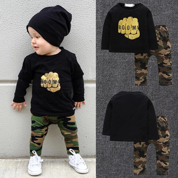 boys camouflage printing Hooded baby boy boutiques clothing kids causal wear rompers fashion 2pcs boys suits new kids wear casual clothes