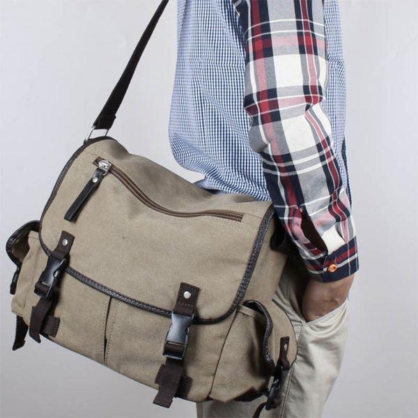 Big Vintage Canvas Messenger Bag Book Laptop Shoulder School Ladys Women Handbag Men Bag Sac
