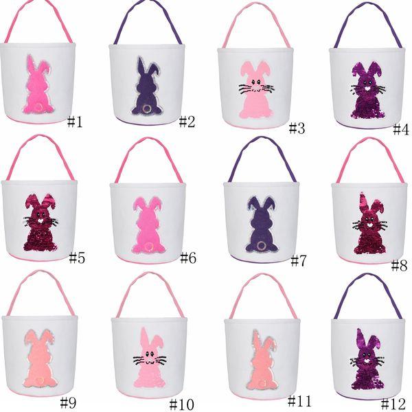 12styles Easter Basket paillettes Coniglio Cestini di Pasqua Canvas Tote regalo Carry Uova Candy Bag Plush fondo tondo bagagli Borse GGA3028-2