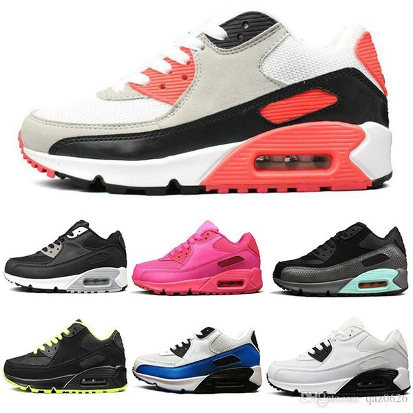 2019 Nuove 90 scarpe da corsa Scarpe da ginnastica da uomo nero argento grigio blu inchiostro a getto d'inchiostro Scarpe da donna gialle rosa Sneakers da esterno di design taglia 36-45