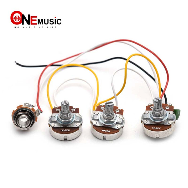 top popular JB Bass Wiring Harness Prewired Kit 250K Pots 2 Volume 1 Tone For Jazz Bass Electric Guitar Parts 2019