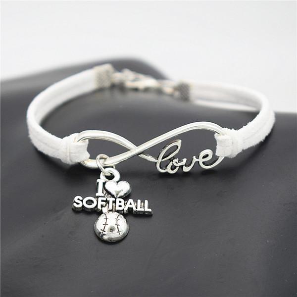 Fashion Bohemian Handmade White Leather Suede Rope Cuff Charm Bracelets & Bangles Infinity Love I Heart Softball Jewelry Gifts For Women Men