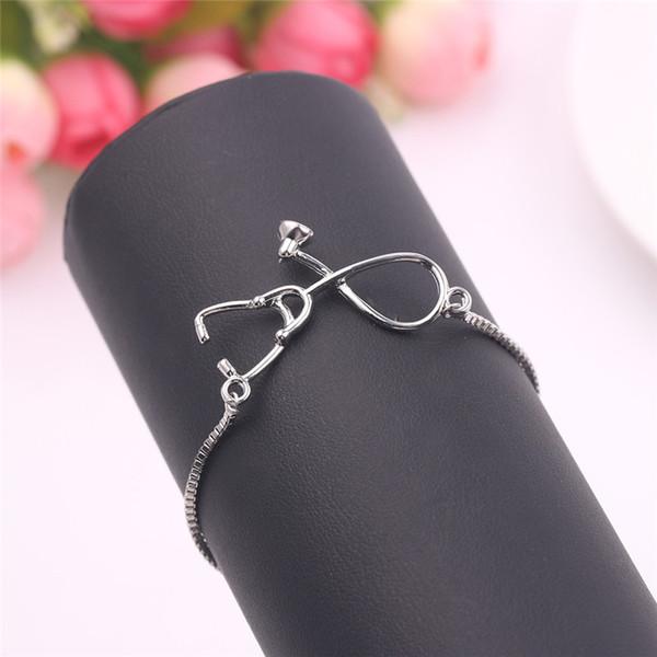 Medical Stethoscope Bracelet Gold silver Box adjustable Chain Jewelry Gift for Doctor medical Friends Charm Women Men Bracelets
