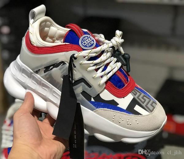 Versace Chain Reaction Zincir Reaksiyonu Sneakers Erkeklerde Erkek Lüks Tasarımcı Ayakkabı Dişiler Bayan Spor Eğitmenler Toz ile Rahat Moda Ayakkabı Sneakers