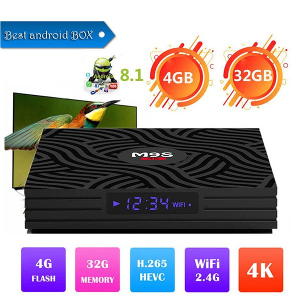wholesale M9S Y1 Android 8.1 TV Box Rockchip RK3328 4GB 32GB 1080P H.265 4K 60fps Google Player Store Netflix Youtube Better X96 H96 Max