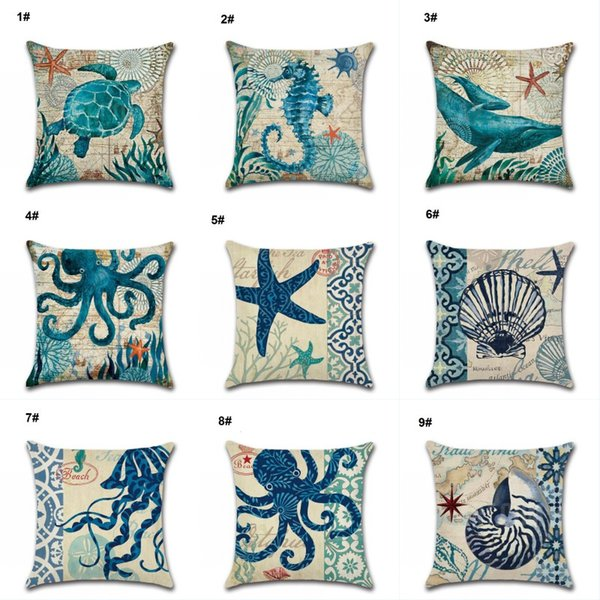 Estrella de mar Conch Funda de almohada Caballos de mar Pulpo Funda de cojín Cuadrado de lino de algodón Funda de almohada Sofá en casa Decoración