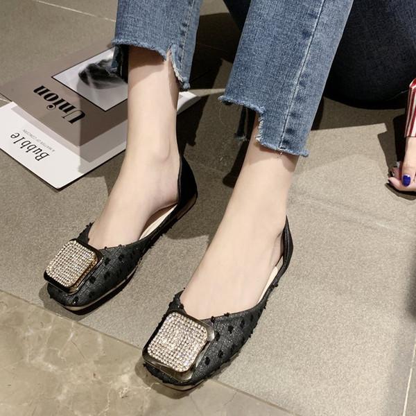 Kare Kafa İnsan yapımı Elmas Daire Keel İnce Kadın 2019 Yaz Yeni Stil Kore tarzı yönlü Kapalı ayak Büyükanne Shoes