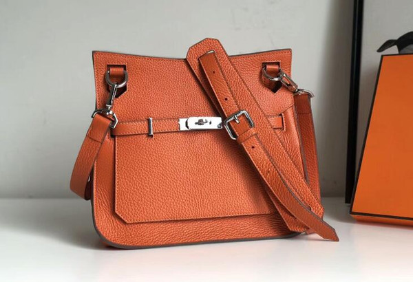 Top quality Jipsiere 28cm Unisex Taurillon Clemence Leather Shoulder Bag,Front flap closure with swivel clasp,Come with Dust Bag Box