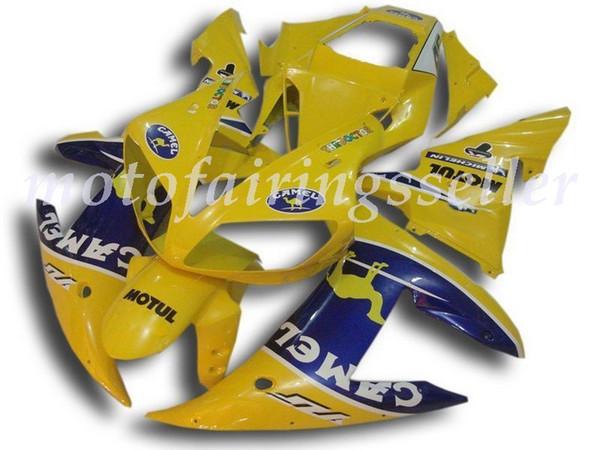 3 Ücretsiz hediyeler Yeni ABS Fairing Setleri Fit YAMAHA YZF-R1 02 03 YZF1000 2002 2003 R1 grenaj kaporta ayarlanan özel Sarı ve Mavi İçin