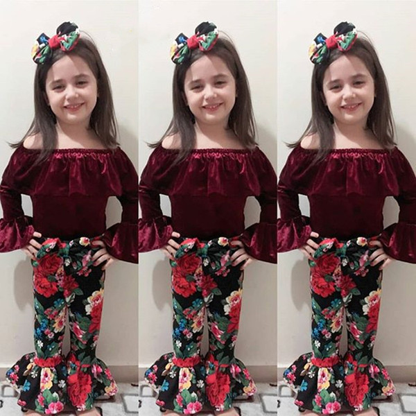 Girls Casual 3pcs sets with headband 2019 Baby Autumn New kids wear fashion boutique clothing sexy design infant clothing toddler garments