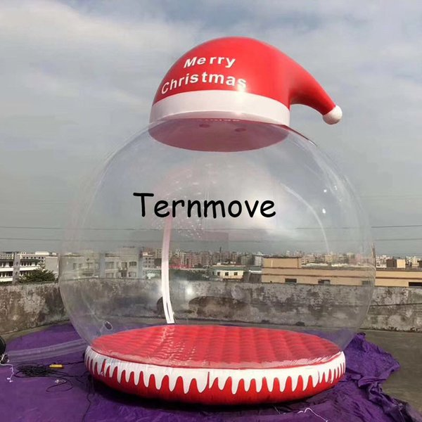 3M Christmas Inflatable Snow Globe for Decoration, Inflatable Human Snow globe with hat For Photography