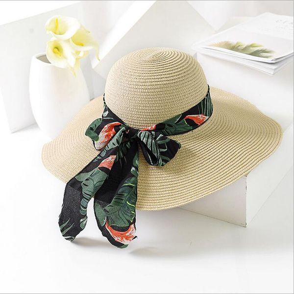 BINGYUANHAOXUAN 2018 New Summer Female Sun Hat Bow Ribbon Panama Beach Hats for Women Chapeu Feminino Sombrero Floppy Straw Hat C18122501