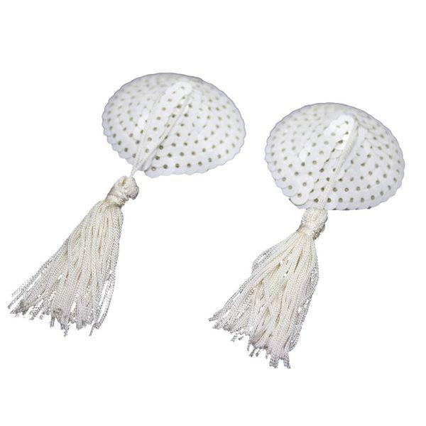 Mujeres sexy silicona Bling lentejuelas borlas en forma de corazón pezones cubiertas adhesivas empanadas sujetador (blanco)