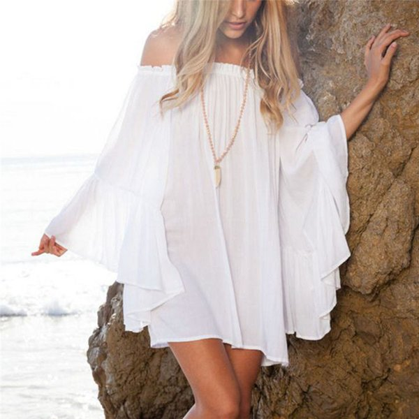 wholesale Summer Women Dress Off Shoulder Beachwear Swimwear Bikini Cover Up Slash Neck Ladies Dresses Chiffon Mini Dress
