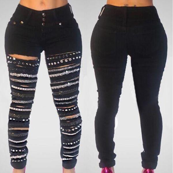 2018 New Black Drei-Tasten-High-Taille Loch Jeans Gold Chain Damen Ripped Jeans Casual Vintage Holes Boyfriend für Frauen