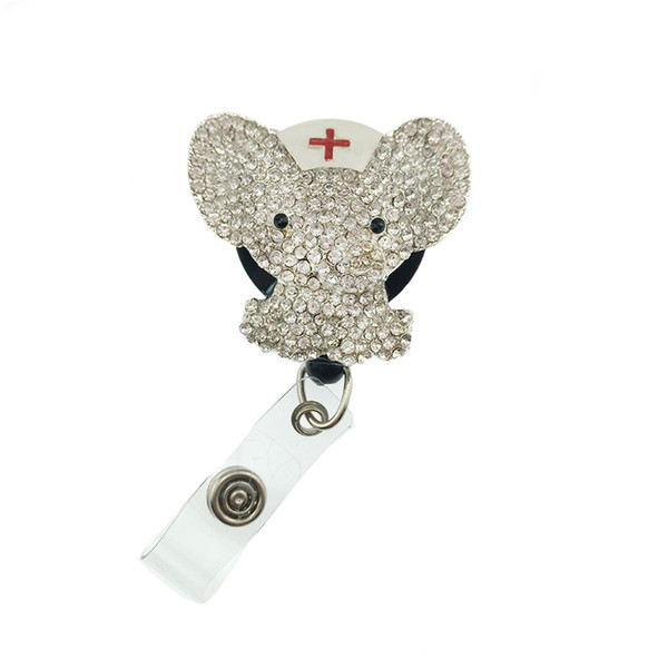 10pcs/lot Hot sell fashion Cute Elephant Clear Crystal Decorative student Retractable ID Badge Holder/Name card holder for gift