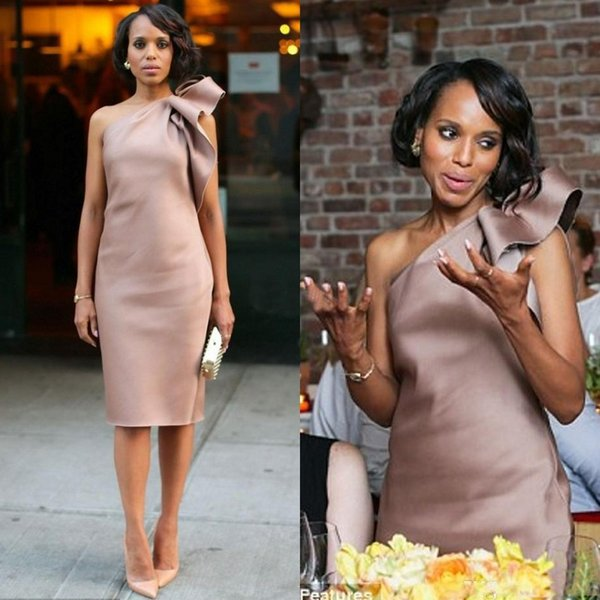 2019 New Kerry Washington Celebrity Dress Bridesmaid Party Gowns One Shoulder Bow Satin Knee Length Sheath Dusty Blush Club Cocktail Dresses