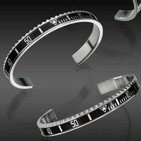 O Envio gratuito de Homens Das Mulheres de aço Inoxidável sólido Cuff Bangle Relógio de Luxo estilo Velocímetro Oficial Bolsa Box Set Pulseira
