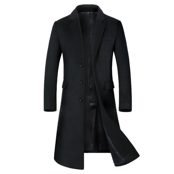 Mens Korean Autumn Winter Thicken Wool Polyester Blend Overcoat Male Classic Long Suit Jacket Black Gray Slim Fit Peacoat XXXL