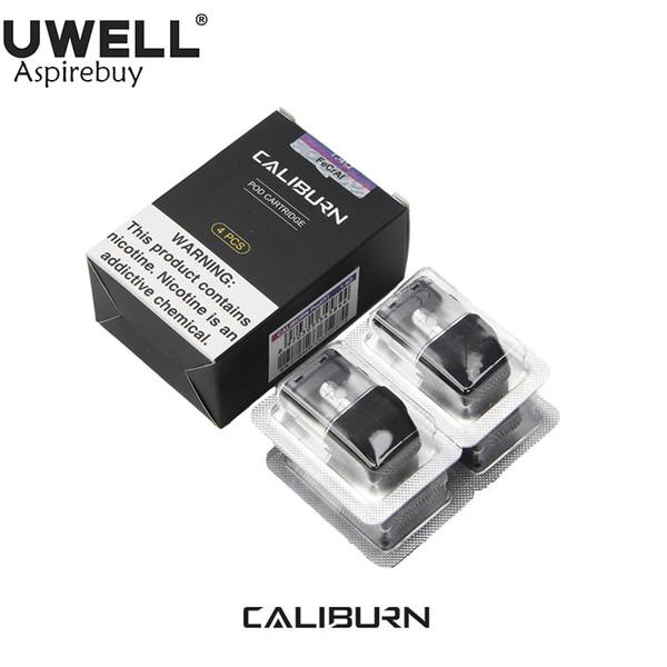 4 Adet / paket UWELL Caliburn Pod Kartuşu Caliburn Pod Sistemi ile Çalışmak 1.4ohm 2 ml Suyu Kapasitesi Üst Dolum Pod Vape Buharlaştırıcı 100% Orijinal