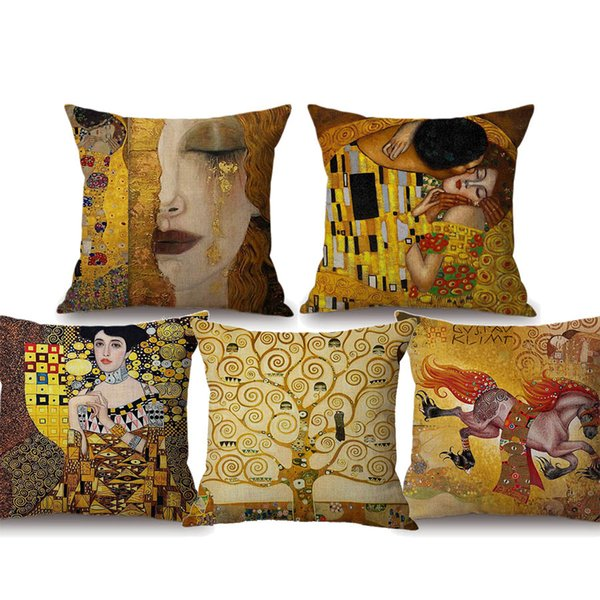 Gold Tears Beauty Girl Cushion Covers Oil Painting Luxury Decorative Beige Pillow Case 45X45cm Sofa Chair Seat Decor