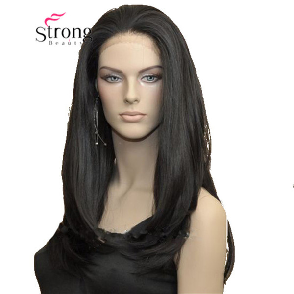 Long Striaght Lace Front Wig Black High Heat Full Synthetic Wigs Front Lace Hair
