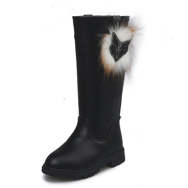 2019 Yeni Sonbahar Kış Kız Tilki Diz Yüksek Çizmeler Çocuklar Boots Kürk Peluş Çocuk Deri Elbise ile Kızlar için kar