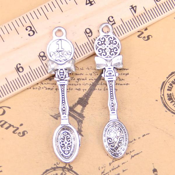 8pcs Charms kitchen cooking spoon 53x11mm Antique Pendants,Vintage Tibetan Silver Jewelry,DIY for bracelet necklace