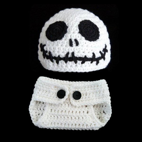 Newborn Knit Skull Costume,Handmade Crochet Baby Boy Girl Ghost Beanie Hat and Diaper Cover Set,Infant Halloween Costume Photo Props