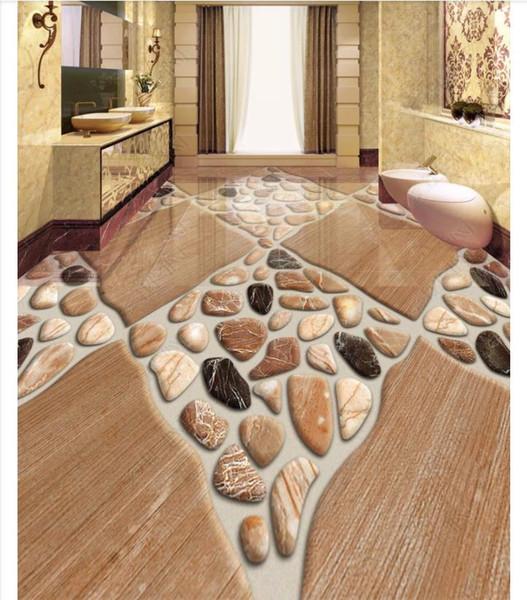 Grosshandel Benutzerdefinierte 3d Foto Selbstklebende Wasserdichte Bodenmalerei Wandpapier 3d Badezimmerboden Naturstein Bodenfliese Stereo Kiesel Von