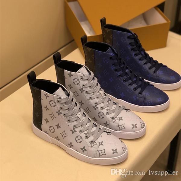 2019 Scarpe da ginnastica uomo nuovo design in vera pelle scarpe alte migliori qualità traspirante tempo libero sport all'aria aperta uomo 2 colori scarpe taglia 39-45