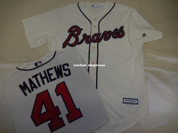 Cheap custom EDDIE MATHEWS Baseball Cool Base JERSEY CREME Stitched Customize any name number MEN WOMEN BASEBALL JERSEY XS-5XL