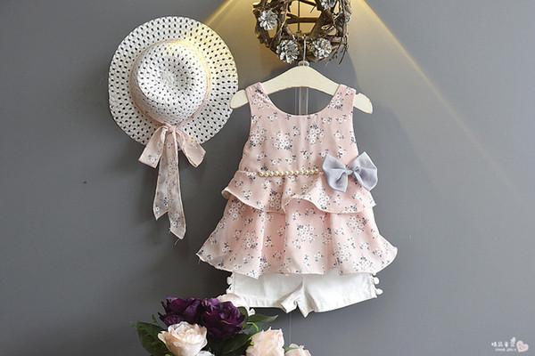 Kinderbekleidung Set Mädchen Blumenkleid Bow Pearl Chiffon Slip Kleid mit Shorts Set mit Hut
