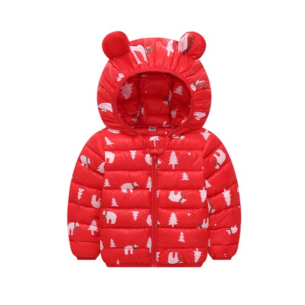 Boys Girl Chlidren Winter Coat Jackets Kids Zip Thick Ears Snow Hoodie Clothes Long-sleeved hooded cartoon ear coat cotton suit