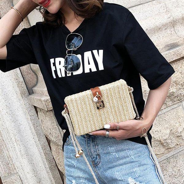 2018 Летние сумки через плечо Bolsa Женские сумки Мини-женские сумки через плечо Кожаные квадратные соломенные женские сумки через плечо