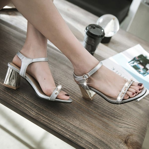 Sexy2019 Grace String Of Beads One Bare Toe Sandals Coarse High With Occupation Shoe Will Shoes W35